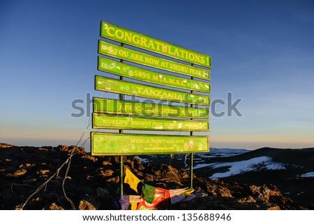 Summit day is D Day on Kilimanjaro, Tanzania - Uhuru Peak - stock photo