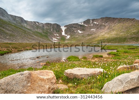 Summit Lake in the Mount Evans Wilderness Area of Colorado. - stock photo