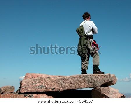 Summit of Granite Peak, Montana. - stock photo