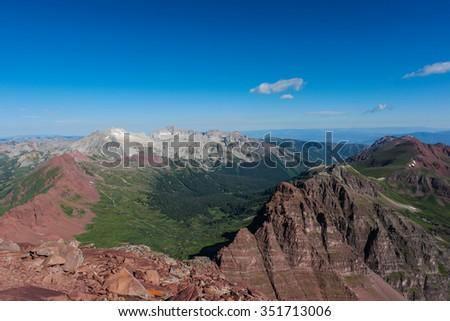 Summit of North Maroon Peak, Near Aspen.  Colorado Rocky Mountains - stock photo