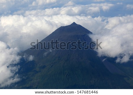 Summit of the volcano Pico on the Azores Portugal - stock photo