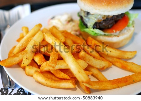 Sumptuous looking hamburger and fries with focus on fries. Suitable for concepts such as diet and nutrition, healthy eating and lifestyle, and food and beverage. - stock photo