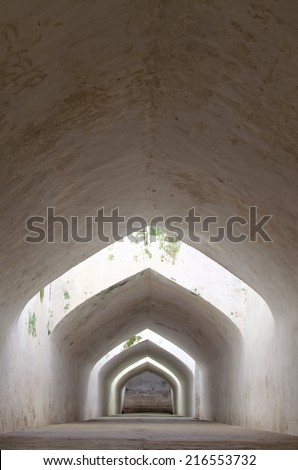 sumur gumantung, the underground walkway tunnel, taman sari water castle - the royal garden of sultanate of jogjakarta