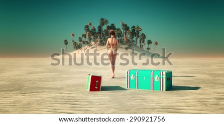 Sun and beach and woman  landscape in 3d - stock photo