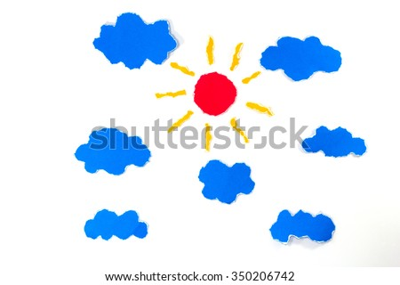 sun and clouds paper craft artwork - stock photo