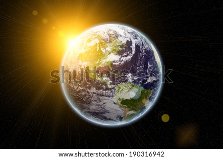 Sun and earth in space - earth texture from nasa.gov - stock photo