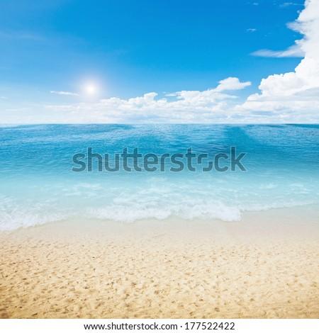 Sun and island beach. Summer shot - stock photo
