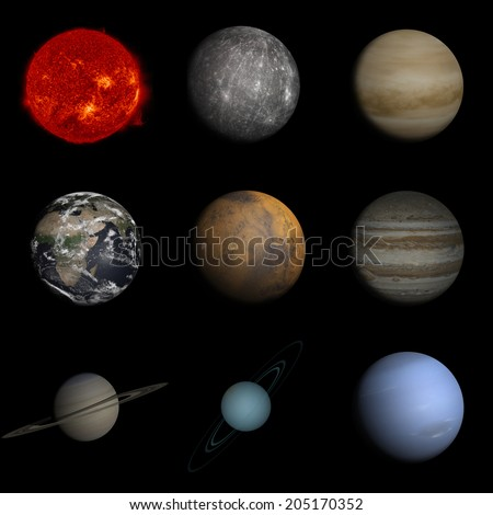 "Sun and planets in Solar system ""Elements of this image furnished by NASA"" - stock photo"