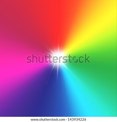 sun and rainbow - stock photo