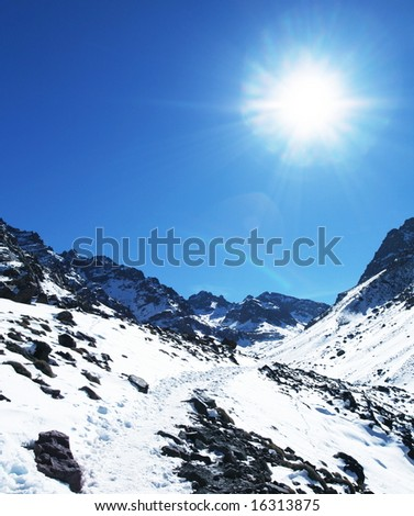 Sun and snow - stock photo