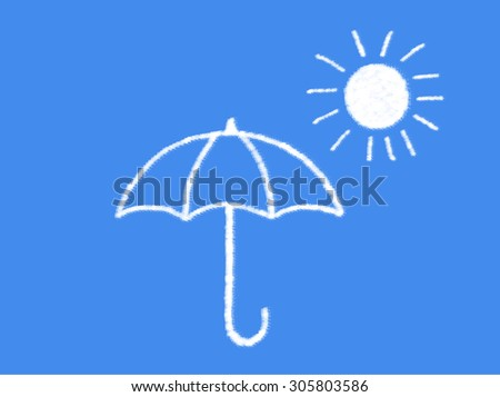 sun and umbrella with cloud shape