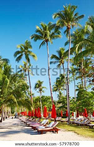 Sun beds on tropical beach, Chang island, Thailand - stock photo