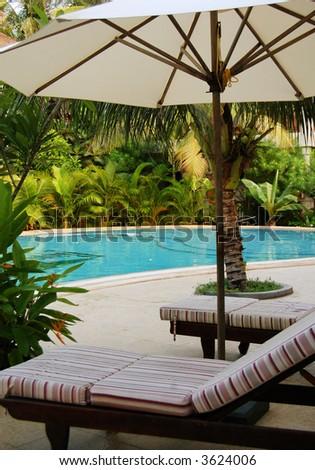 sun beds under umbrella at the poolside & Sun Beds Under Umbrella Poolside Stock Photo 3624006 - Shutterstock