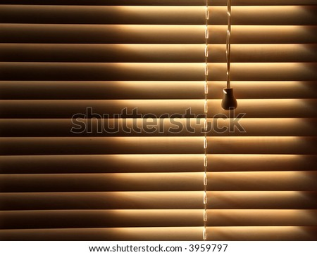 Sun blocked by wooden venetian blinds - stock photo