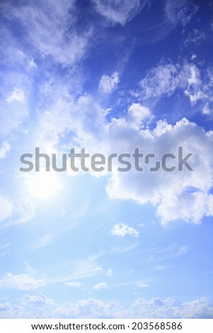 Sun,Clouds And Blue Sky