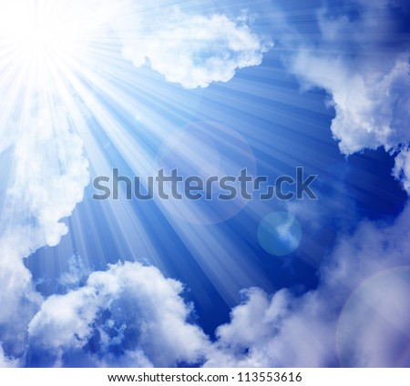 Sun clouds sky for a background. - stock photo
