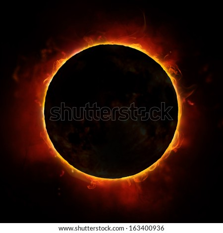sun eclipse on the black background