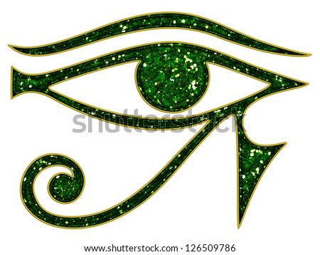 Sun Eye of Horus - reverse Moon Eye of Thoth - ancient Egyptian symbol of protection - stock photo