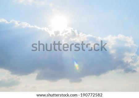 sun flare clouds - stock photo