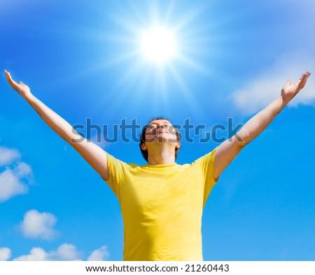 Sun gives me life - stock photo
