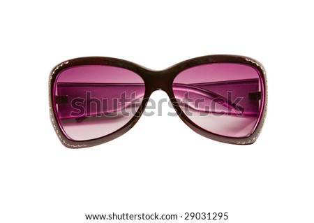 Sun glasses of purple colour on a white background