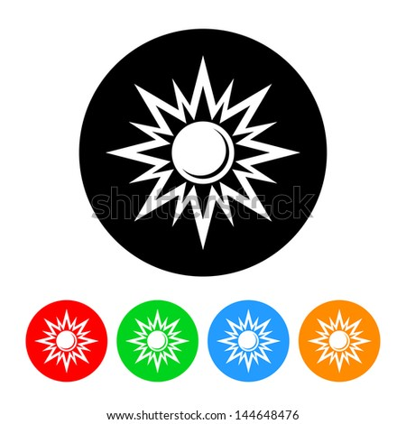 Sun Icon with Color Variations.  Raster version, vector also available. - stock photo