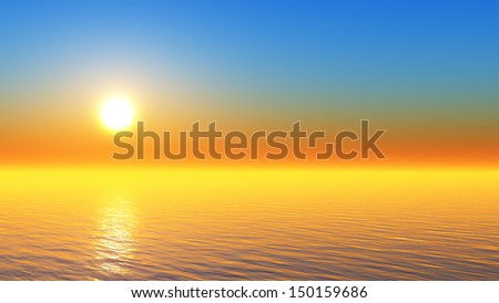 sun in clear sky over tranquil tropical sea - stock photo