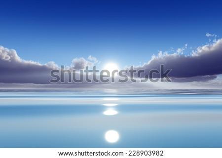 sun in clouds over blue calm sea - stock photo