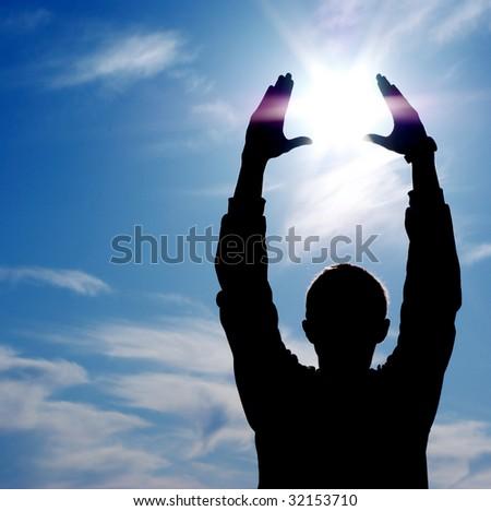 Sun in hands. Element of design. - stock photo