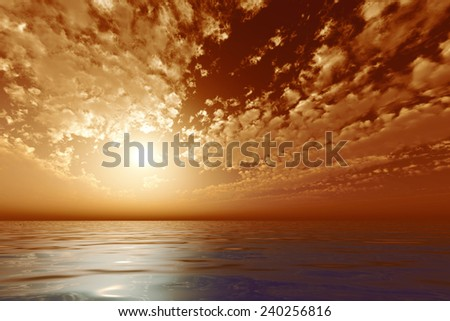 sun in orange clouds over sea - stock photo