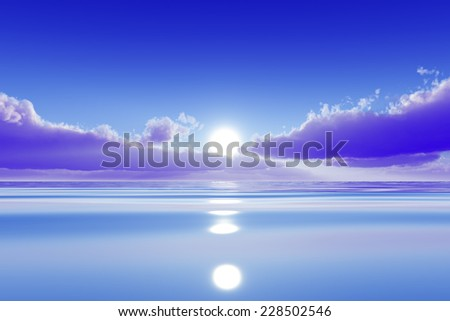 sun in pink clouds over blue calm sea - stock photo
