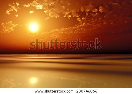 sun in red clouds over golden sea - stock photo