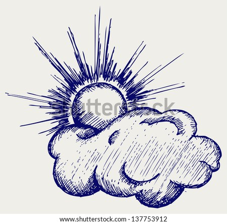 Sun in the clouds. Doodle style. Raster version - stock photo
