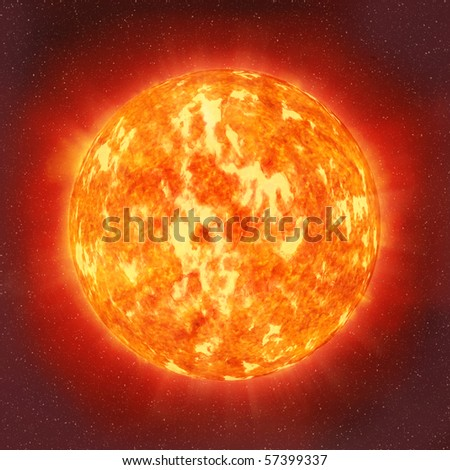 Sun in the space - stock photo