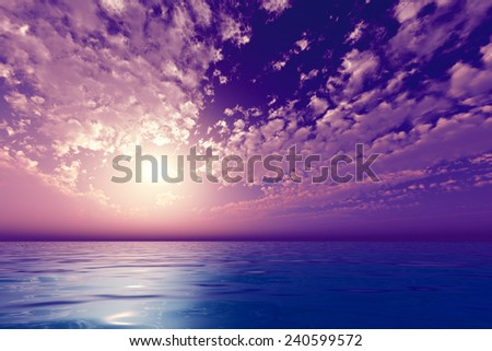 sun in violet clouds over sea - stock photo
