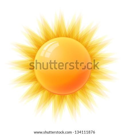 Sun isolated on white background - stock photo