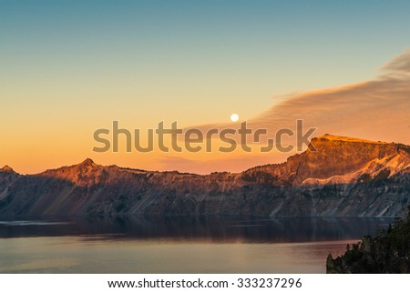 sun light in the morning after blood moon day,big moon,some scenic view in Crater Lake national park,Oregon,USA. - stock photo