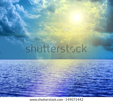 Sun light over the Middle of The Ocean  - stock photo