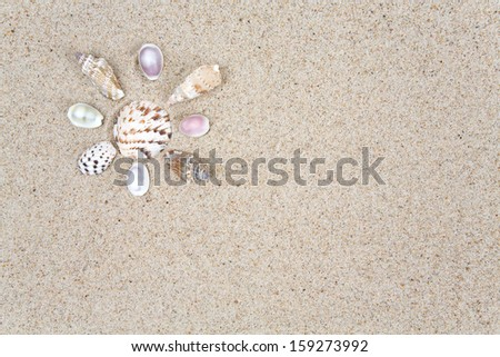 sun made of sea shells over sand - stock photo