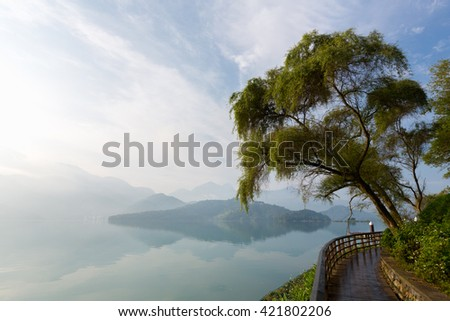 Sun Moon Lake at dawn, Taiwan - stock photo