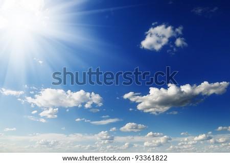 sun on blue sky - stock photo