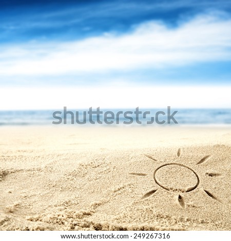 sun on sand  - stock photo