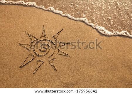 sun on the beach - stock photo