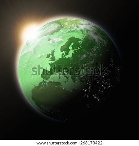 Sun over Europe on blue planet Earth isolated on black background. Highly detailed planet surface. Elements of this image furnished by NASA. - stock photo
