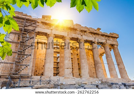 Sun over Parthenon in Acropolis, Athens, Greece - stock photo