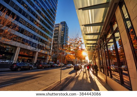 Sun peaking through the trees on the sidewalk, glass windows, people wandering in the downtown core - stock photo