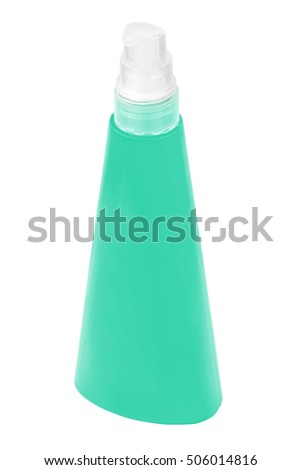 Sun protecting cream green bottle, isolated on white background