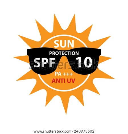 Sun Protection With Anti-UV, SPF 10 PA+++ On Sun And Black Sunglasses Icon Isolated On White background. - stock photo