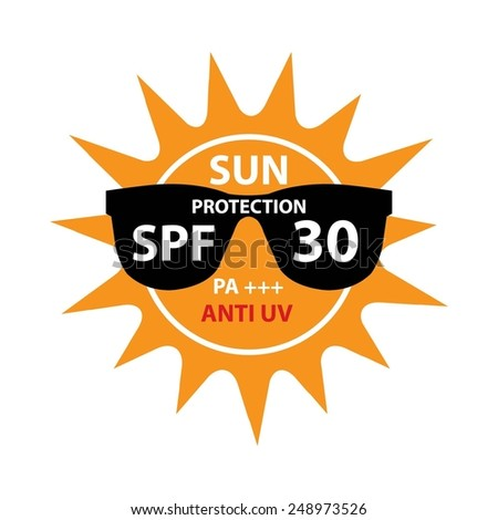 Sun Protection With Anti-UV, SPF 30 PA+++ On Sun And Black Sunglasses Icon Isolated On White background. - stock photo