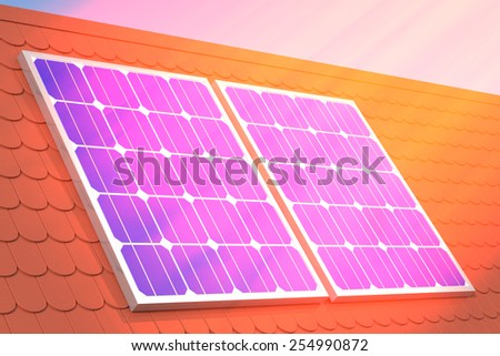 sun rays at solar panel mounted on tiled roof